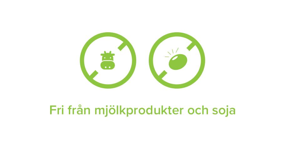 Fri från mjölkprodukter och soja